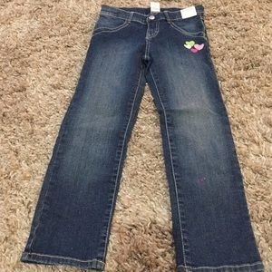 Gymboree girls jeans with hearts embroidered size6